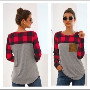 🆕 Christmas 🎄 Plaid Patchwork Long Sleeve Tops